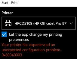 HP Printer Error Code 0x8007007e